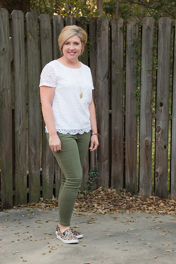 lace top, olive jeans