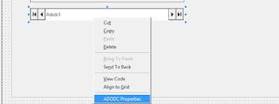 Klik kanan ADODC dan pilih ADODC Properties untuk mengatur koneksi