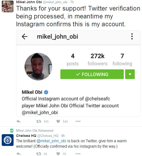Mikel Obi finally rejoins Twitter after racist abuse made him delete his account in 2012