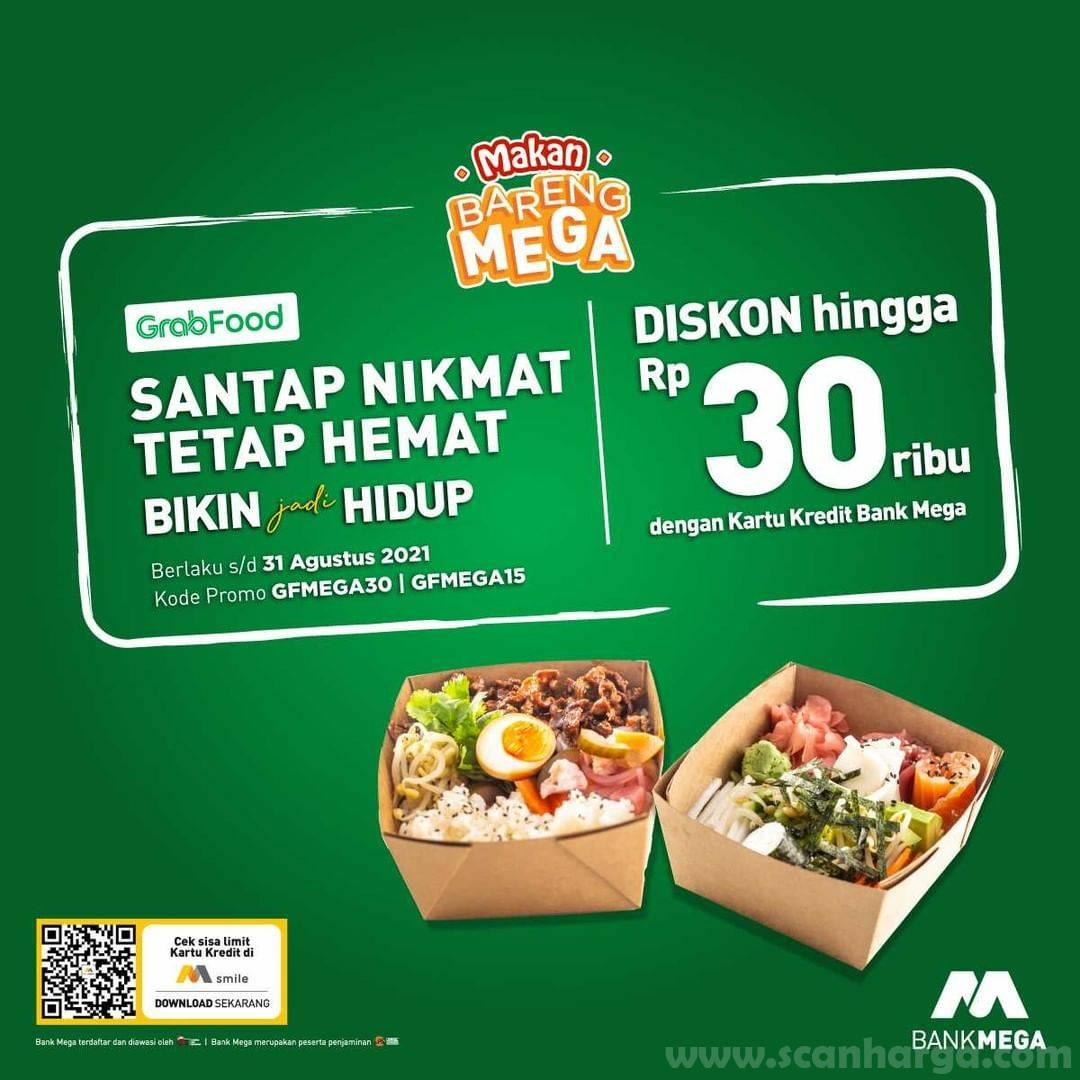 Promo GRABFOOD DISKON Rp. 30.000 dengan Kartu Kredit Bank Mega