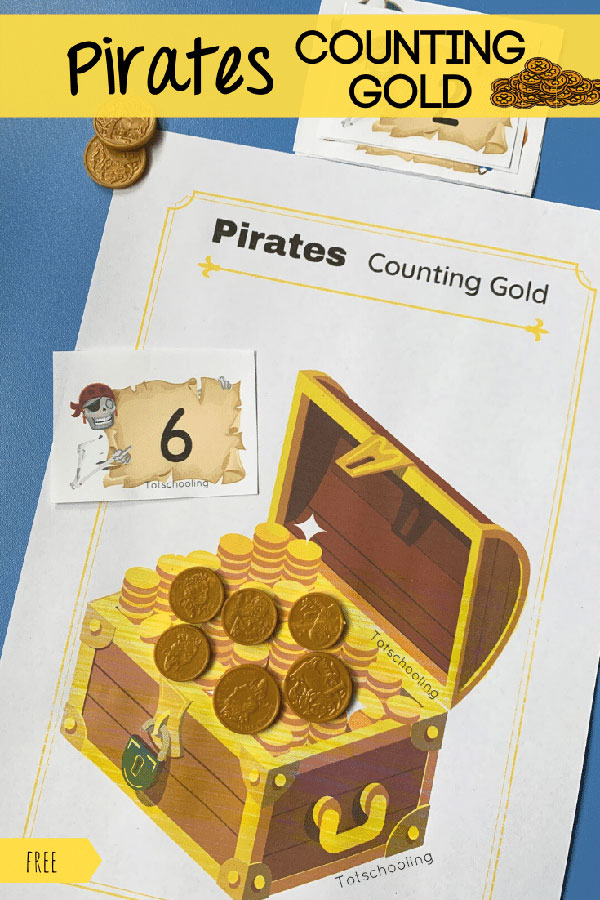 FREE printable pirate-themed counting activity for preschoolers. Fun hands-on math activity that can be done with gold coins or playdough.