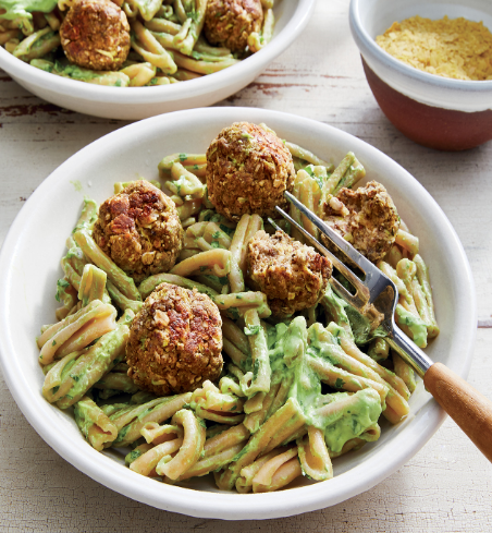 HEALTHY DINNER PASTA GEMELLI WITH COURGETTE MEATBALLS AND CHIMICHURRI