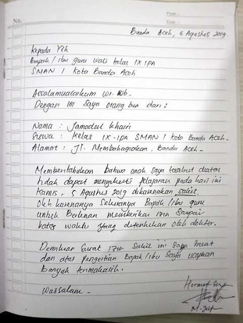 Contoh Surat Izin Sakit Tulisan Tangan SMA (via: suratlamaran123.com)