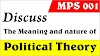 Discuss the meaning and nature of political theory.