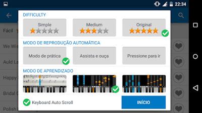 Configurações da música