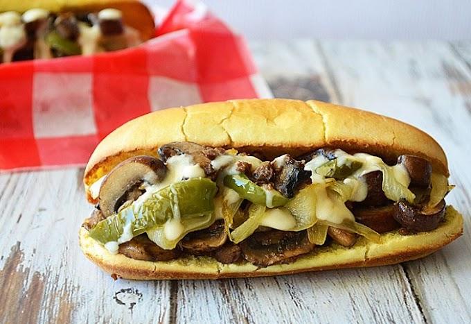 Grilled Mushroom Cheesesteaks #vegetarian #dinner