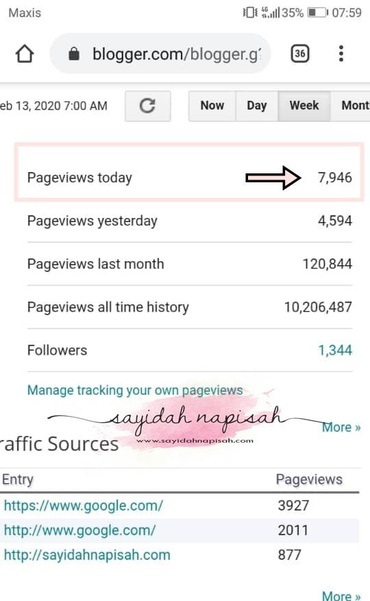pageviews pv blog semalam hampir cecah 8000