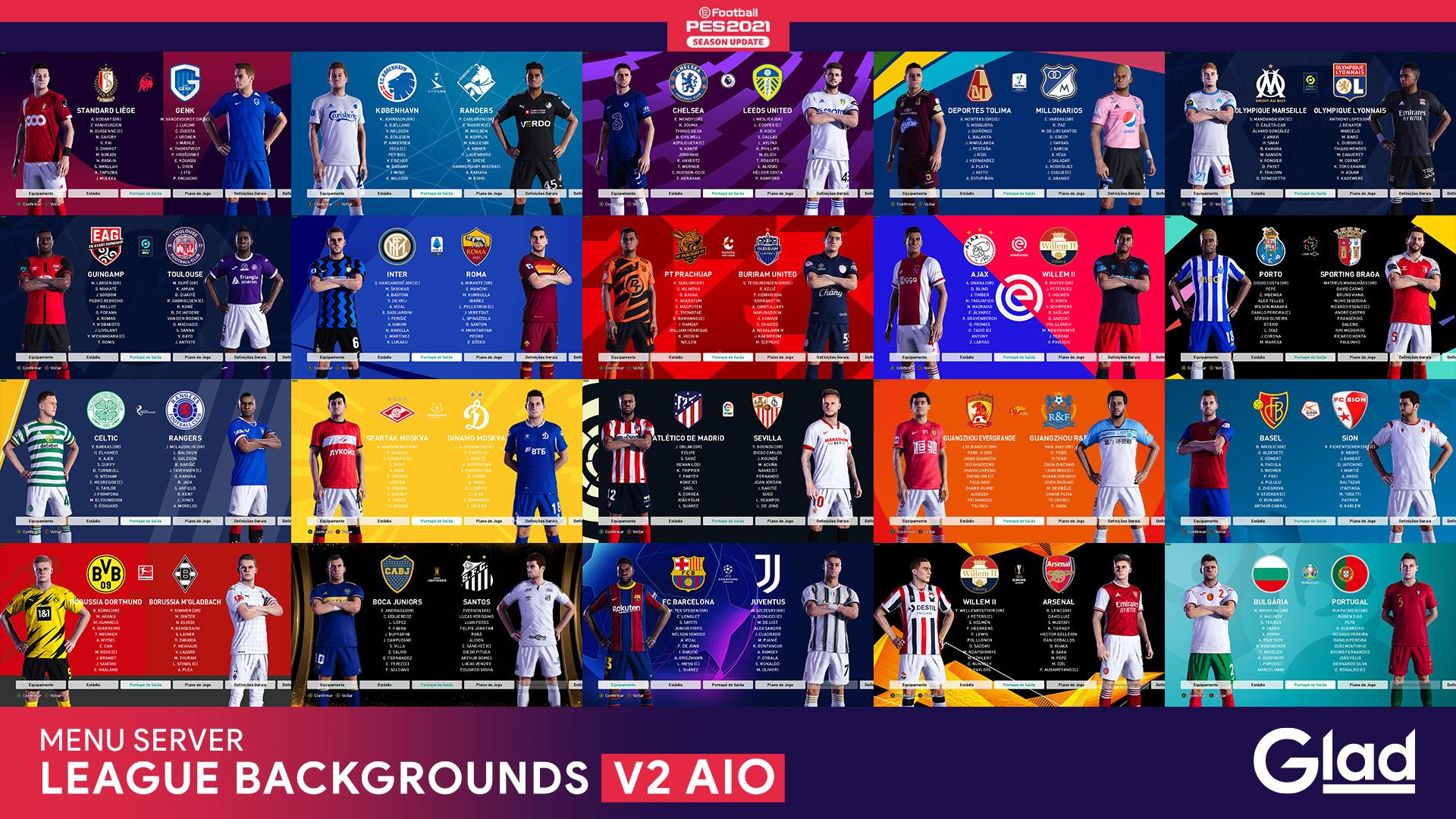 PES 2021 League & Cup Backgrounds V2 AIO