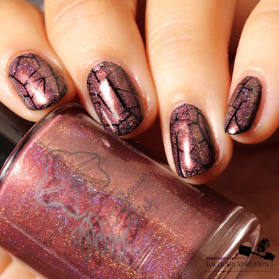 Nail stamping polish swatch of holographic pink mauve nail polish Cranberry Sauce by Moonflower Polish