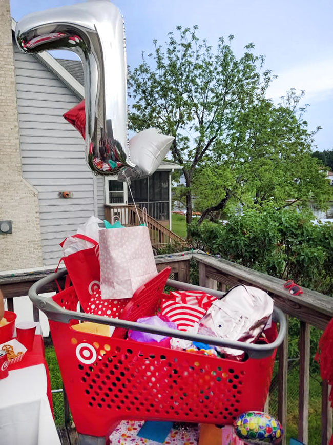 Target-themed birthday presents in shopping cart