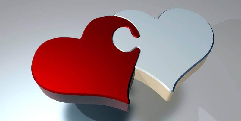 amor. Dos corazones entrelazados
