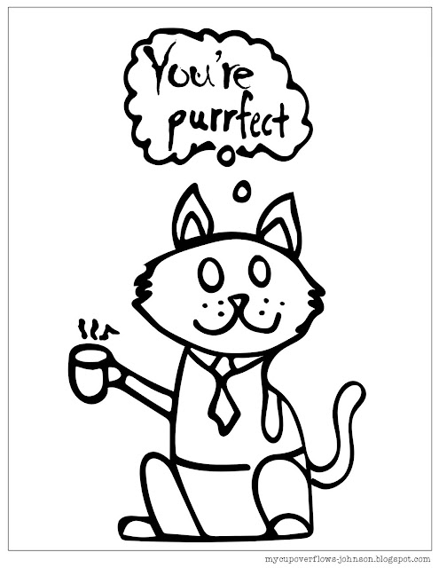 free cat coloring page You are purrfect