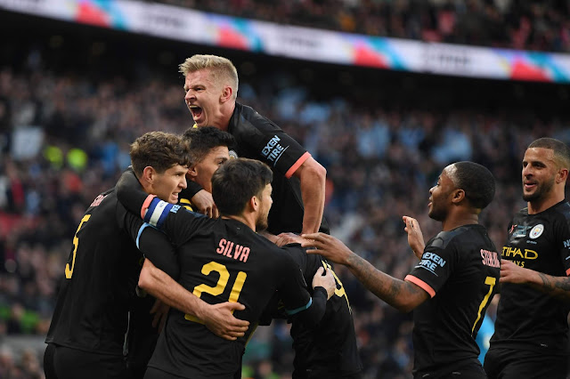 Man city players celebrate goal vs aston villa in the carabao cup 2020 final
