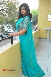 Telugu Actress Alekhya Stills in Green Saree at Swachh Hyderabad Cricket Press Meet  0087.JPG