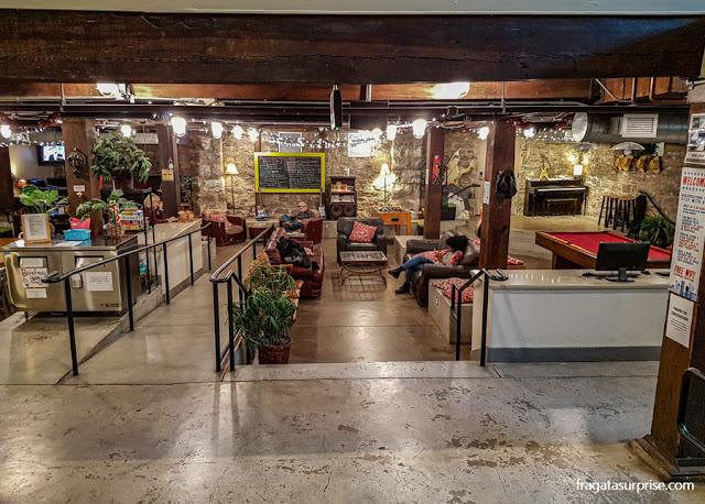 A sala de estar no Nashville Downtown Hostel