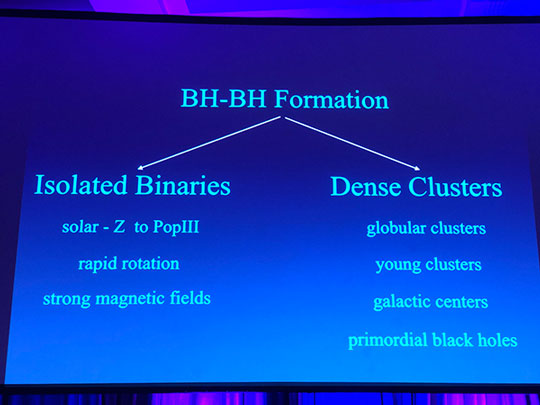 Where black hole binaries form is big research topic (Source: Vicky Kalogera, Northwestern U, at 233rd AAS)