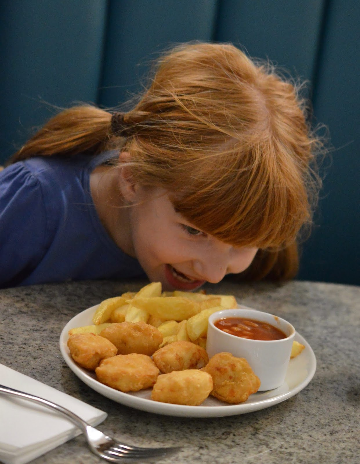 Fish and Chips with Kids at Trenchers, Spanish City - A Review - kids chicken nuggets and chips
