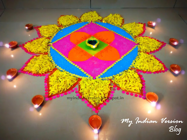 Diwali Decoration at My Home - Indoor Rangoli
