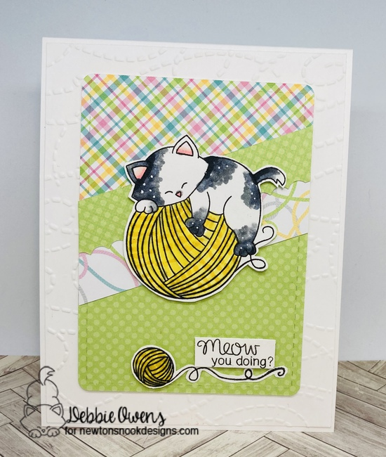 Meow you doing by Debbie features Newton Unwinds and Frames & Flags by Newton's Nook Designs; #newtonsnook, #cardmaking,