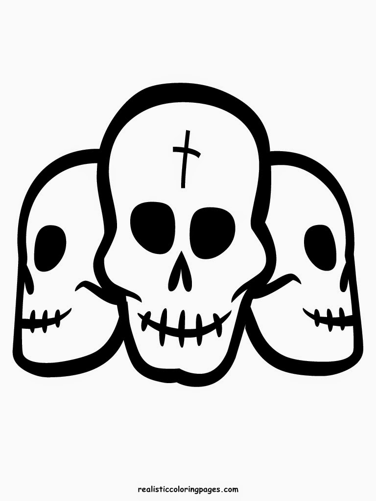 printable halloween skull head coloring pages