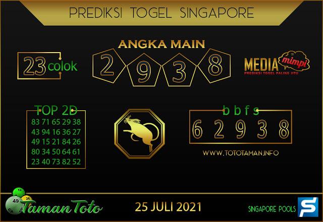 Prediksi Togel SINGAPORE TAMAN TOTO 25 JULI 2021