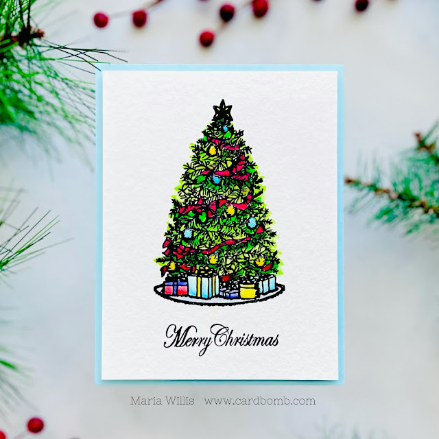 Cardbomb, Maria Willis,Gina K Designs,Gina K. Designs,cats,cards, cardmaking, stamps, stamping, ink,christmas,trees,copic coloring,copic markers,CAS,handmade, color, art, diy