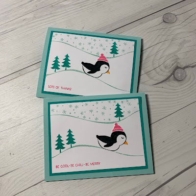 Handmade greeting cards using Stampin' Up! Penguin Place Card