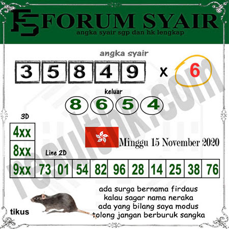 Forum Syair HK Minggu 15 November 2020