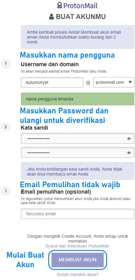 Formulir pendaftaran akun email di ProtonMail