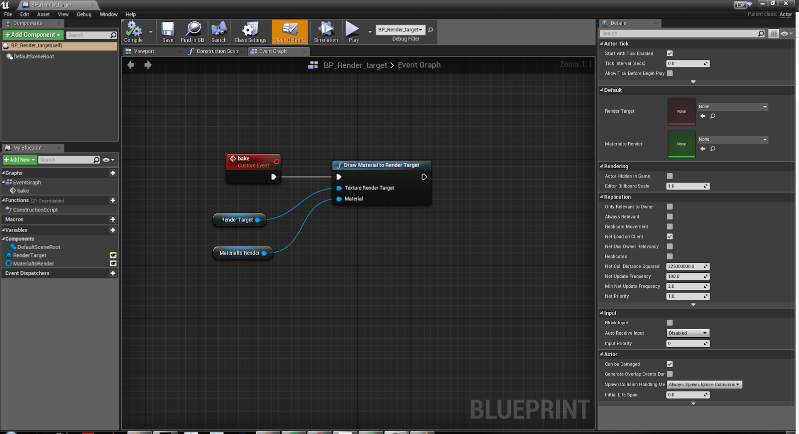 Pulsing UE4 material and Material baking back into a texture