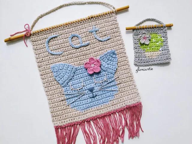 Aprende a la técnica cambiar de colores con este tapiz de gatito a crochet