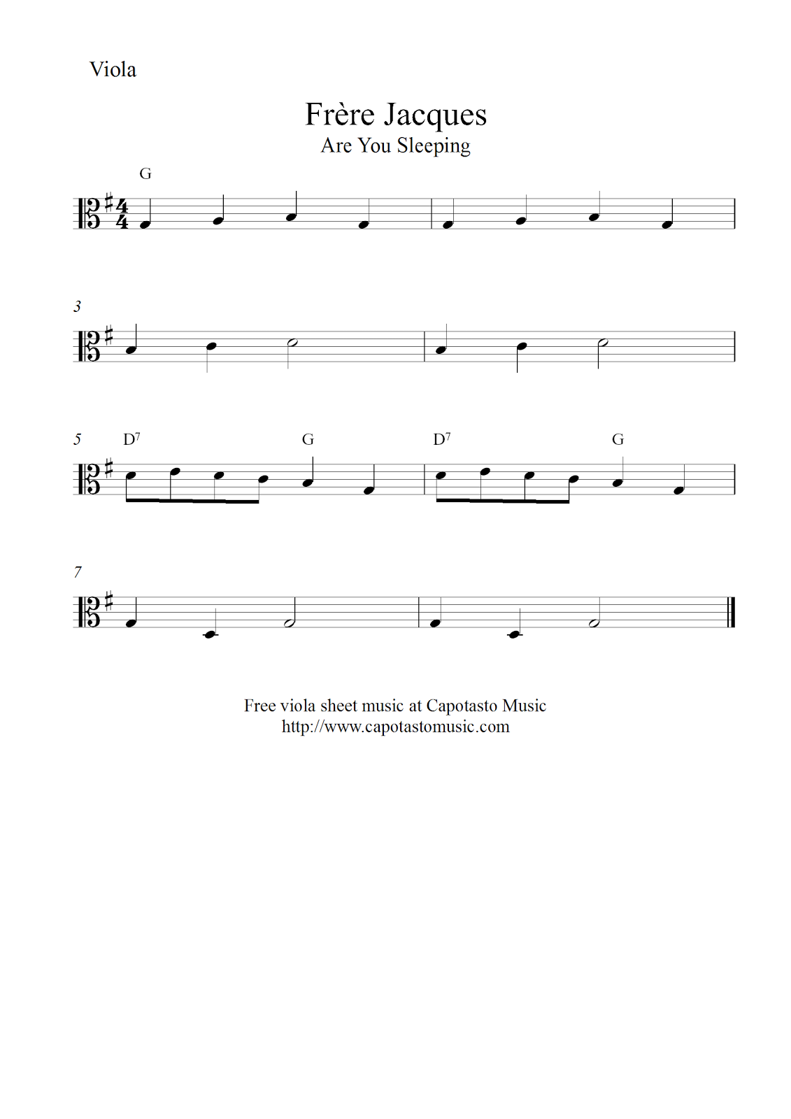 Free Easy Viola Sheet Music Frre Jacques Are You Sleeping