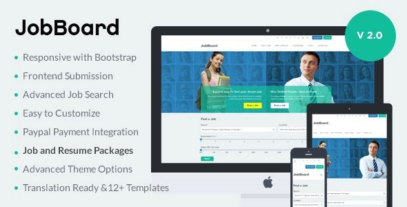 Free Download JobBoard V2.0 Responsive Job & Resume Market WordPress Theme