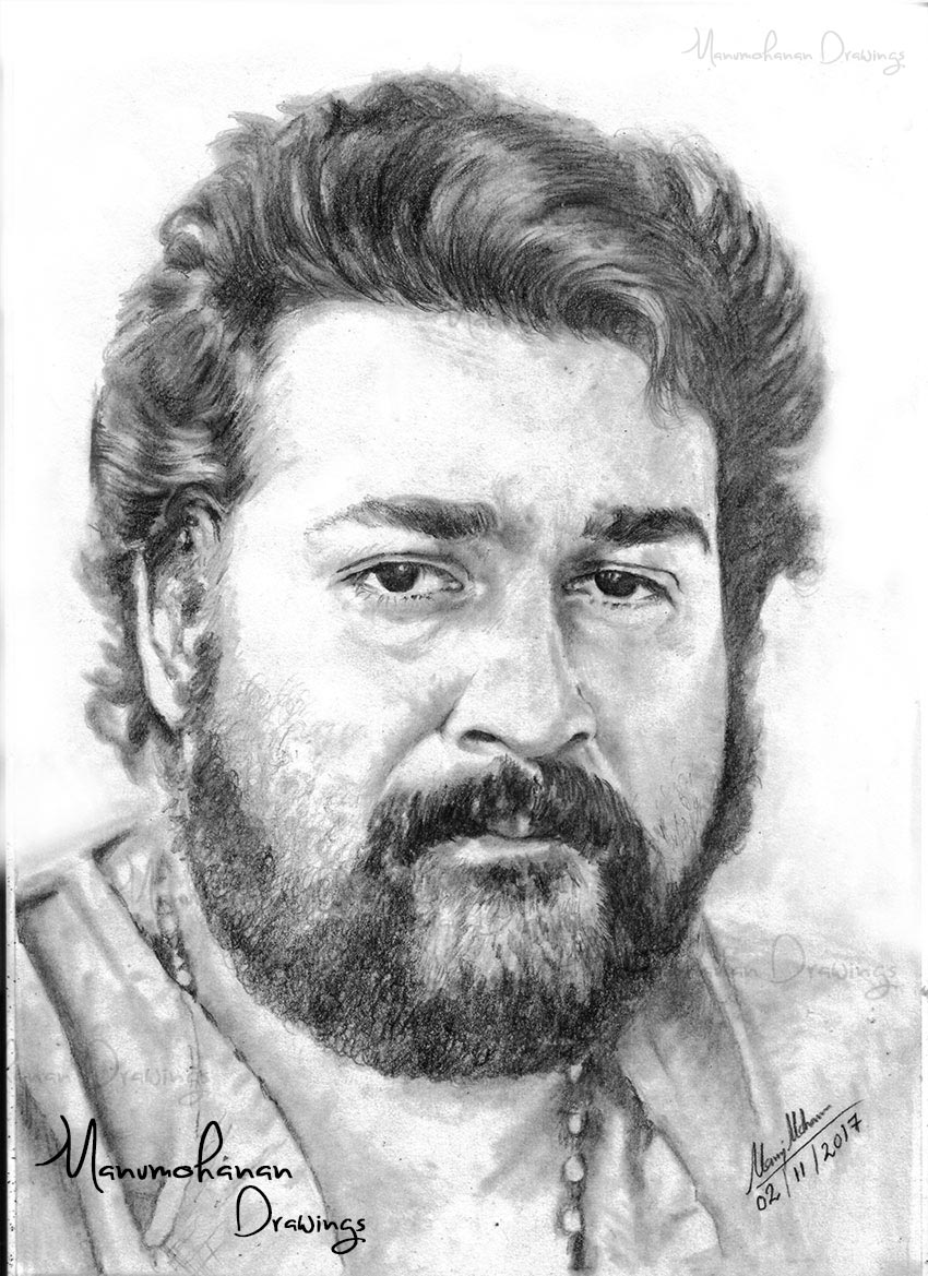 Mohanlal pencil draw