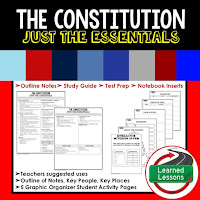 Constitution Outline Notes, Civics Test Prep, Civics Test Review,Civics Study Guide, Civics Summer School Outline, Civics Unit Reviews, Civics Interactive Notebook Inserts