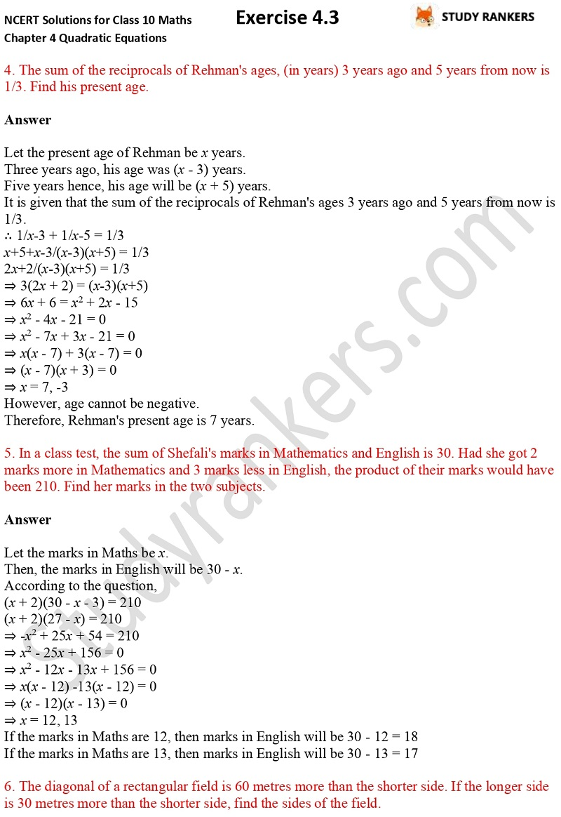 NCERT Solutions for Class 10 Maths Chapter 4 Quadratic Equations Exercise 4.3 Part 4