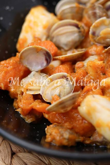 receta de calabaza con almejas y bacalao