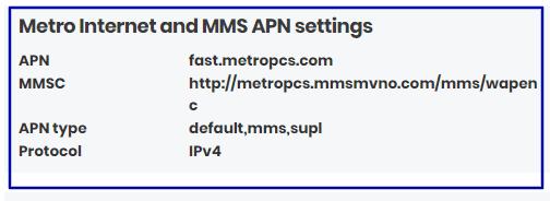 Metro Data Settings