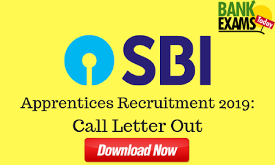 SBI Apprentices Recruitment 2019: Call Letter Out