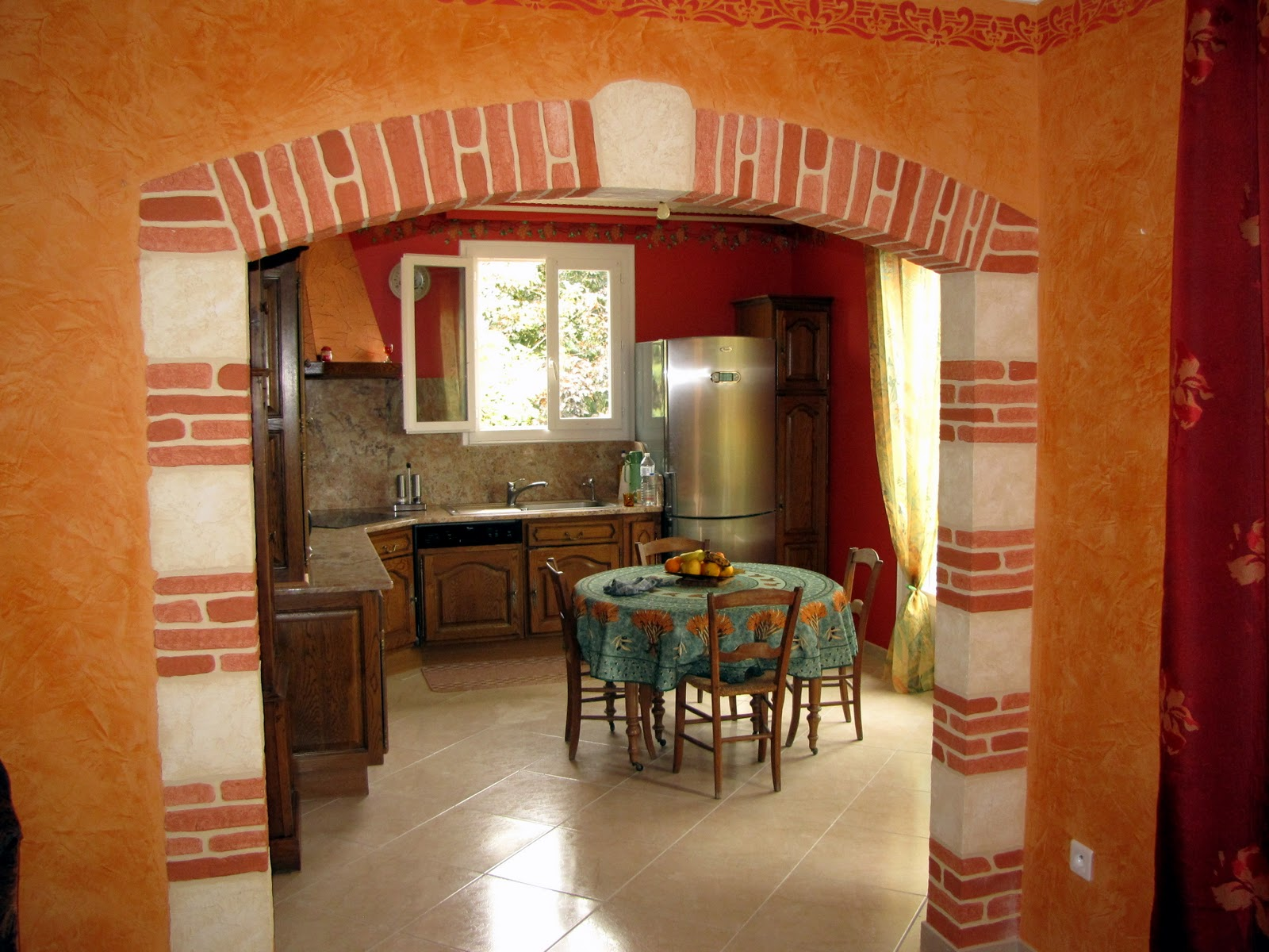 peinture d corative artisanale didier roussel voute en imitation pierres et briques en enduit. Black Bedroom Furniture Sets. Home Design Ideas