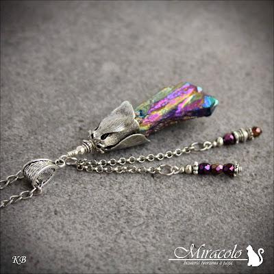 Miracolo, kwarc tytanowy, rainbow quartz, titanium quartz, Flame Aura Quartz