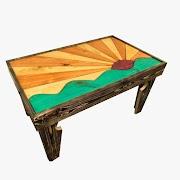 Rising Sun Pine Wood Coffee Table - Ladubee