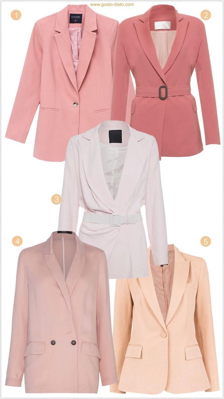 Tendência de inverno terno feminino cor de rosa