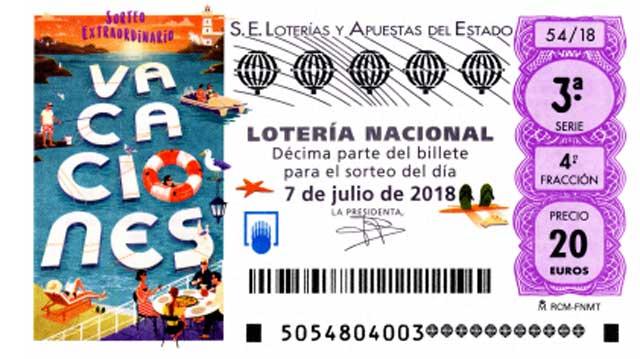 Sorteo de loteria nacional extraordinario de vacaciones