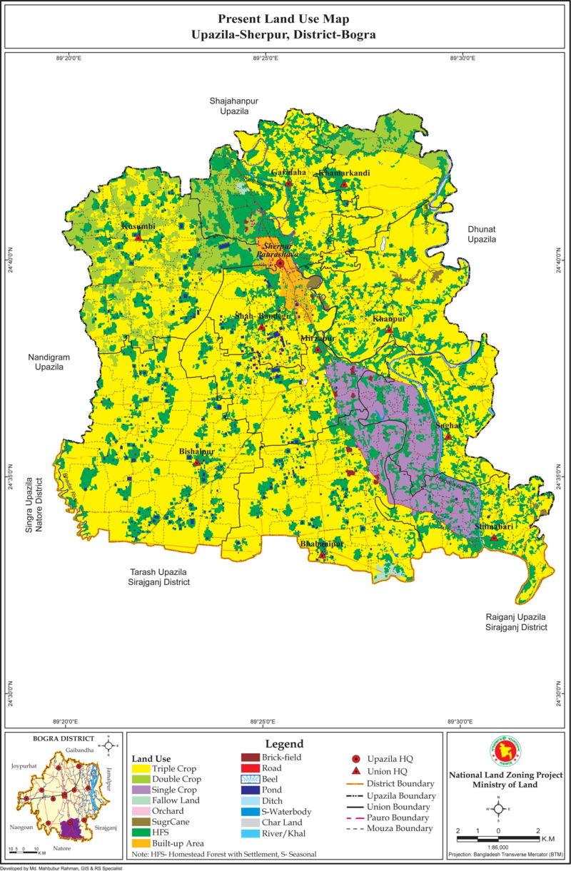 Sherpur Upazila Land Use Mouza Map Bogra District Bangladesh