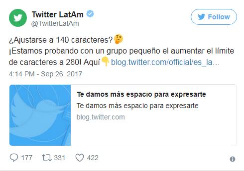 Twitter hace prueba y aumenta hasta los 280 caracteres por cada 'tuit'