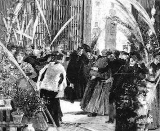 Dibujo que ilustra el asesinato del primer obispo de Madrid publicado en 1886