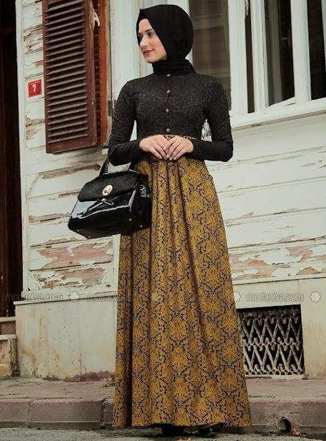 Gamis Kombinasi Batik Gold