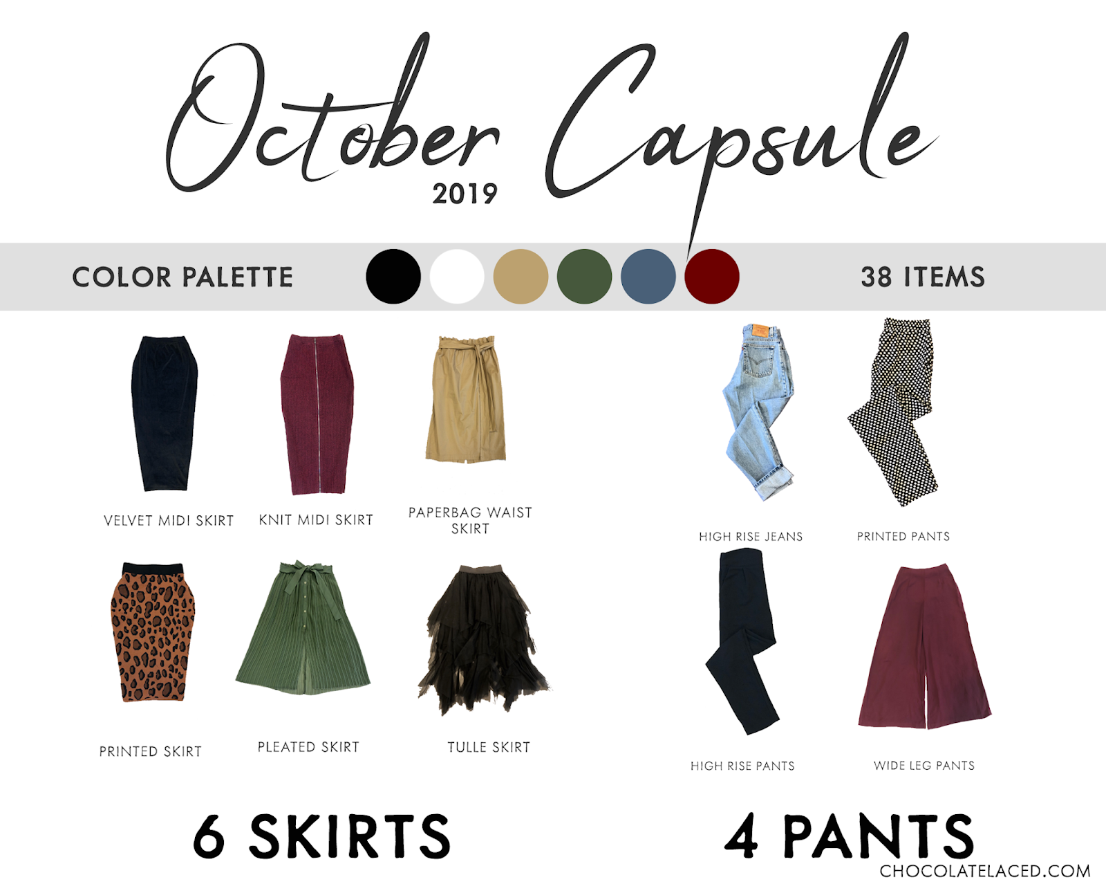 October capsule closet skirts and pants