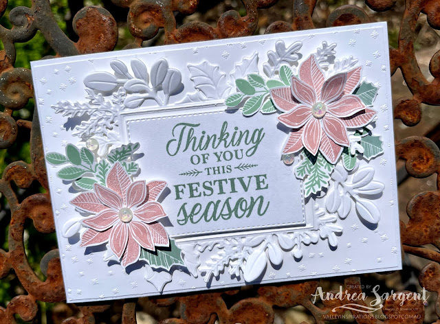 Embossed leaves frame a Christmas sentiment and is decorated with softly coloured poinsettias to bring Christmas wishes.